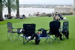 Australian people sit relax and picnic in Kings Park and Botanic garden stock photo