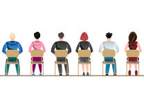 People sitting back view. Different people sitting back view. Vector illustration Stock Photography