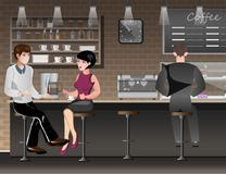 People sitting in bar or pub. stock illustration
