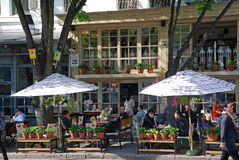People sitting in beautiful outdoor cafe, Odessa Stock Photography