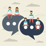 People sitting on big symbols. Speech bubbles for comment and reply concept. Flat vector illustration royalty free illustration