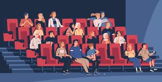 People sitting in chairs at movie theater or cinema auditorium. Young and old men, women and children watching film or. Motion picture. Viewers or moviegoers vector illustration