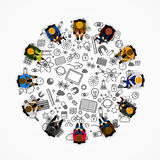 People sitting in a circle Stock Photo