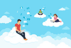 People sitting on the clouds in sky and using laptops Royalty Free Stock Photo