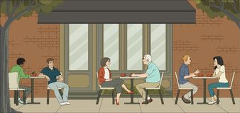 People sitting in a coffee shop. Cafe with couples on tables Stock Image
