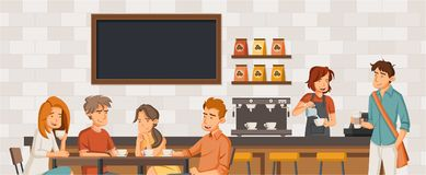 People sitting in a coffee shop. Cafe with friends on tables stock illustration