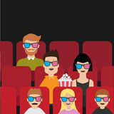 People sitting in movie theater eating popcorn. Love couple, kids, man, children.. Film show Cinema background. Viewers watching movie in 3D glasses. Red seats Royalty Free Stock Image