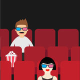 People sitting in movie theater. Film show Cinema background. Viewers watching movie in 3D glasses. Man and woman cartoon  Royalty Free Stock Photos