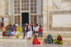 People sitting outside Taj Mahal in Agra, Uttar Pradesh, India Stock Photography