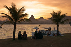 People sitting between palm trees in front of the lake and watch sunset Stock Photography