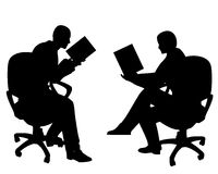 People Sitting Reading Books. An illustration featuring 2 people - a man and woman, sitting and reading books Stock Photo