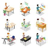 People sitting at table isometric 3D set. People sitting at table in office or in classroom isometric 3D set. Working with documents or on computer, science Stock Photo