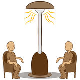 People Sitting Under a Lamp Heater Royalty Free Stock Images