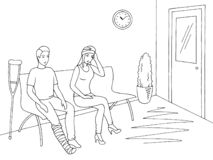 People sitting and waiting in line queue at the clinic corridor graphic black white interior sketch illustration vector royalty free illustration