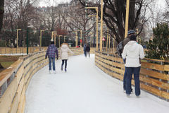 People skate on the rink Royalty Free Stock Photo