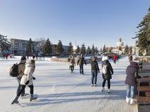 People skate on the rink ENEA Stock Image