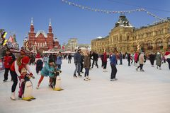 People skate on the rink on the Red square in Moscow. Russia Stock Image