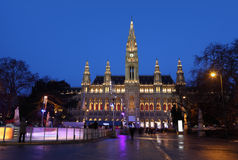 People skate on the rink in Wiener Rathaus Stock Images