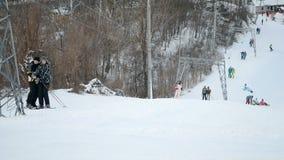 People with skateboards and ski in Kiev, Ukraine, stock video footage
