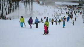 Skateboards and ski diversity, Kiev, Ukraine, stock footage
