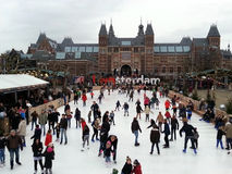 People skating Amsterdam. People skating in Amsterdam near the Rijksmuseum Stock Photography