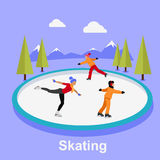 People Skating Flat Style Design. Ice skating, figure skating, skating rink, sport lifestyle, activity leisure, winter and ice, recreation outdoor illustration Royalty Free Stock Photos