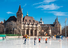 People are skating in front of Vajdahunyad castle in Budapest. BUDAPEST, HUNGARY - FEBRUARY 22, 2016: People are skating in front of Vajdahunyad castle in Royalty Free Stock Images