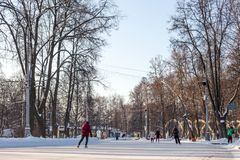 People is skating on a huge free ice rink Royalty Free Stock Image