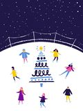People skating on ice rink in the evening near the decorated christmas tree. Winter scene, flat illustration royalty free illustration