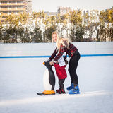 People skating on ice rink in Milan, Italy Stock Images