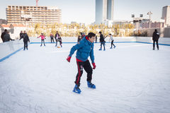 People skating on ice rink in Milan, Italy Royalty Free Stock Images