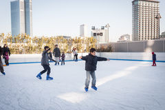 People skating on ice rink in Milan, Italy Royalty Free Stock Photo