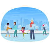 The people skating on an open-air rink in the winter vector illustration. The people skating on an open-air rink in the winter vector illustration Royalty Free Stock Image