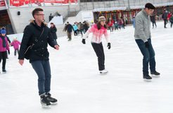 People skating in park Royalty Free Stock Images