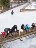 People on skating rink in Moscow Royalty Free Stock Photography