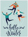 People are skating together. Hello winter. Vector illustration stock illustration