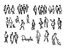People sketch. Outline hand drawing illustration Stock Image