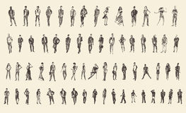 People Sketch, Vector Illustration, Hand Drawing Stock Photography