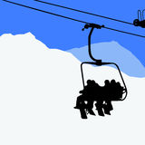 People on the ski lift - snowboarders, skiers Royalty Free Stock Image