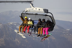 People on the ski lift in Switzerland Royalty Free Stock Image