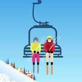 People Skier On Cable Car Transportation Rope Way Over Mountain Hill. Flat Vector Illustration Stock Photo