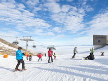 People skiing in the Alps Stock Images