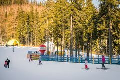 Skiing on the mountain slope in Karpacz Royalty Free Stock Images
