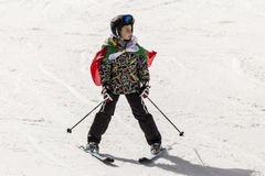 People skiing dressed with traditional bulgarian clothes. Stock Photography