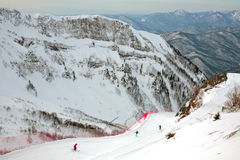 People skiing at Gorky gorod resort in Sochi Stock Photos