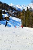 People skiing and having fun, Switzerland, Swiss Alps Stock Photo