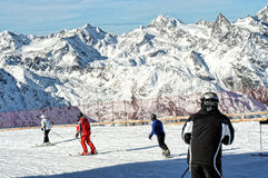 People Skiing In European Alps. Scenic View. Royalty Free Stock Photography