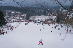 Skiing on the small slope in Karpacz Royalty Free Stock Photo