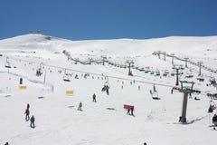 People skiing on Sierra Nevada mountains Stock Image