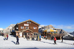 People skiing in ski resort Val di Fassa  in  Ital Stock Image